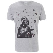 Star Wars Men's Darth Vader Snow Fall Galaxy Christmas T-Shirt - Light Grey Marl