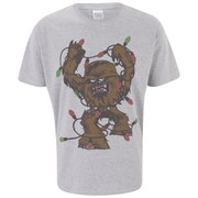 Star Wars Men's Chewbacca Lights Christmas T-Shirt - Light Grey Marl