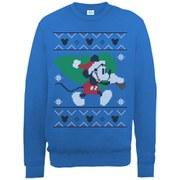 Disney Mickey Mouse Christmas Tree Sweatshirt -  Royal Blue