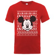 Disney Mickey Mouse Men's Christmas Mickey Head T-Shirt - Red
