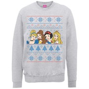 Disney Princess Christmas Faces Sweatshirt - Heather Grey