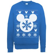 Disney Mickey Mouse Christmas Silhouette Snowflake Sweatshirt -  Royal Blue