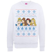 Disney Princess Christmas Faces Sweatshirt - White