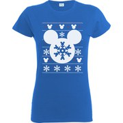 Disney Mickey Mouse Women's Christmas Silhouette Snowflake T-Shirt - Royal Blue