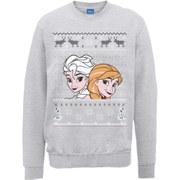 Disney Frozen Christmas Elsa And Anna Sweatshirt -  Heather Grey