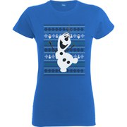 Disney Frozen Women's Christmas Olaf Dance T-Shirt - Royal Blue
