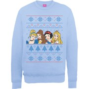 Disney Princess Christmas Faces Sweatshirt - Light Blue