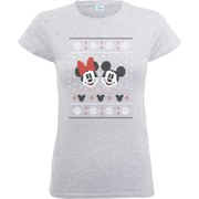 Disney Mickey Mouse Women's Christmas Mickey And Minnie T-Shirt - Heather Grey