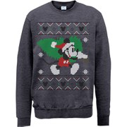 Disney Mickey Mouse Christmas Tree Sweatshirt -  Dark Heather