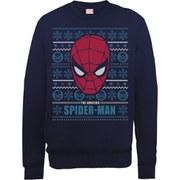 Marvel Comics Spider-Man Face Sweatshirt - Navy