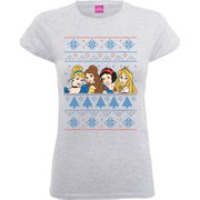 Disney Women's Princess Christmas Faces T-Shirt - Heather Grey