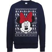 Disney Mickey Mouse Christmas Minnie Head Sweatshirt -  Navy
