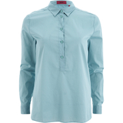 HUGO Women's Emeley Button Down Top - Light Green