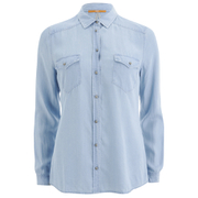 BOSS Orange Women's Crop Denim Shirt - Blue