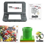 New Nintendo 3DS XL Metallic Black + Super Smash Bros. + Toon Link amiibo Pack