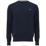 GANT Men's Cotton Pique Crew Knit Jumper - Evening Blue