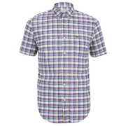 Lacoste Men's Short Sleeve Checked Shirt - Iodine