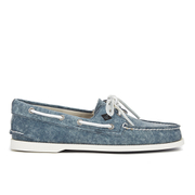 Sperry Men's A/O 2-Eye White Cap Canvas Boat Shoes - Navy