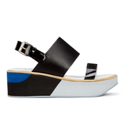 Paul Smith Shoes Women's Bennet Leather Flatform Sandals - Black Charol Patent