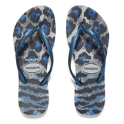 Havaianas Women's Slim Animals Flip Flops - Ice Grey/Navy Blue