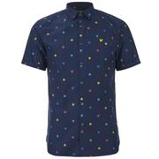 Lyle & Scott Vintage Men's Short Sleeve Micro Print Poplin Shirt - Navy