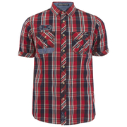 Tokyo Laundry Men's Lozano Check Short Sleeve Shirt - Maute Red