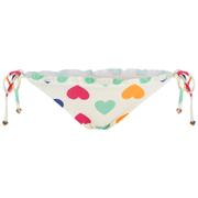 Wildfox Women's Vintage Hearts Ruffle Tie String Bikini Bottoms - White Multi