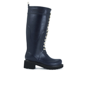 Ilse Jacobsen Women's Lace Up Tall Rubber Boots - Dark Indigo