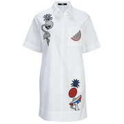 Karl Lagerfeld Women's Tropical Patches Poplin Tunic Dress - White