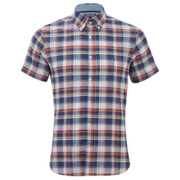 Tommy Hilfiger Men's French Check Short Sleeve Shirt - Dutch Navy