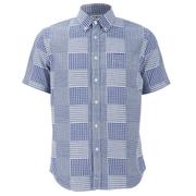 Edwin Men's Short Sleeve Patchwork Shirt - Blue