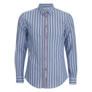 MSGM Men's Striped Long Sleeve Shirt - Blue