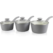 Tower T90921G Taper 3 Piece Ceramic Coated Saucepan Set - Grey - 18/20/22cm