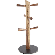 Natural Life NLAS009 Acacia 6 Cup Mug Tree with Slate Base