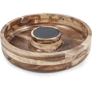 Natural Life NLAS005 Acacia Chip & Dip with Slate Plate