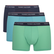 Tommy Hilfiger Men's 3 Pack Trunk Boxer Shorts - River Blue/Jade Cream/Navy Blazer