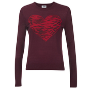 Sonia by Sonia Rykiel Women's Intarsia Heart & Tiger Print Jumper - Brownie/Navy/Black