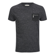 Brave Soul Men's Exit Zip Pocket Fleck T-Shirt - Charcoal