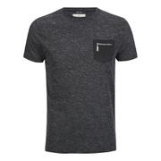 Brave Soul Men's Exit Zip Pocket Fleck T-Shirt - Charcoal