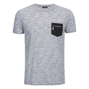 Brave Soul Men's Exit Zip Pocket Fleck T-Shirt - Light Grey