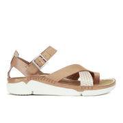 Clarks Women's Tri Ariana Leather Strappy Sandals - Tan Combi