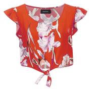 "MINKPINK Women's ""Tangerine Dream"" Tie Front Ruffle Sleeve Top - Multi"