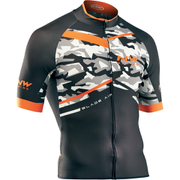 Northwave Blade Air Full Zip Short Sleeve Jersey - Camo/Orange Fluo