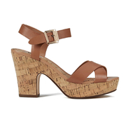 Dune Women's Iyla Leather Platform Heeled Sandals - Tan