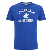 Soul Cal Men's Cracked Print T-Shirt - Cobalt Blue