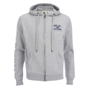 Soul Cal Men's Sleeve Print Logo Zip Through Hoody - Grey Marl