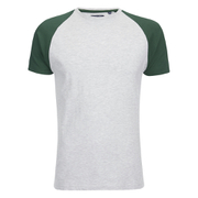 Brave Soul Men's Baptist Raglan Sleeve T-Shirt - Ecru/Bottle Green