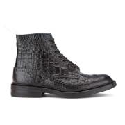 Tricker's Men's Stow Croc Leather Lace Up Brogue Boots - Black