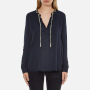 MICHAEL MICHAEL KORS Women's Chain Neck Long Sleeve Shirt - New Navy