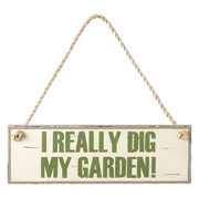 Parlane 'I Really Dig My Garden' Hanging Sign - White/Green (38 x 12.5cm)